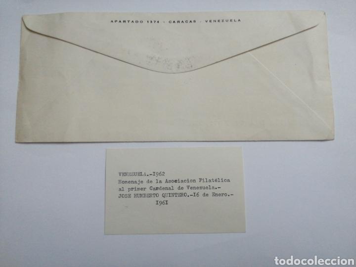 Sellos: Venezuela Sobre 1 día, homenaje al primer cardenal de Venezuela, año 1962 - Foto 2 - 230436850