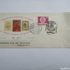 Sellos: VENEZUELA SOBRE 1 DÍA, HOMENAJE AL PRIMER CARDENAL DE VENEZUELA, AÑO 1962. Lote 230436850