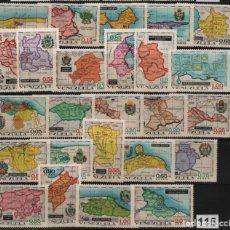 Sellos: VENEZUELA: 1970; 25 ESTAMPILLAS MAPAS. Lote 231003740