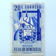 Sellos: SELLO POSTAL VENEZUELA 1952, 20 C, ESCUDO DE ARMAS DE BOLIVAR, MINERIA DE METALES, USADO. Lote 234049790