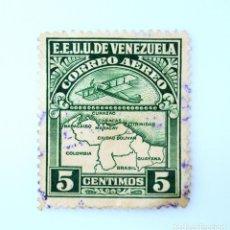 Sellos: SELLO POSTAL VENEZUELA 1939, 5 C, AVIÓN SOBREVOLANDO MAPA DE VENEZUELA, USADO. Lote 234111995