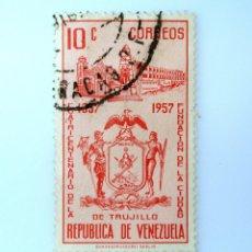 Sellos: SELLO POSTAL VENEZUELA 1958, 10 C, 400 ANIV. FUNDACIÓN TRUJILLO, ESCUDO DE ARMAS DE TRUJILLO, USADO. Lote 234116595