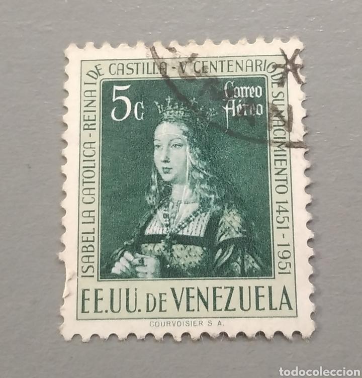 SELLO VENEZUELA ISABEL LA CATÓLICA AÑO 1951 (Sellos - Extranjero - América - Venezuela)