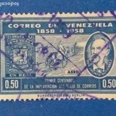 Sellos: USADO. VENEZUELA. AÑO 1959. YVERT 681 A. PRIMER CENTENARIO DE LA IMPLANTACIÓN DEL SELLO POSTAL.. Lote 244022695