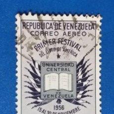 Sellos: USADO. VENEZUELA. AÑO 1957. PRIMER FESTIVAL DEL LIBRO AMERICANO. YVERT 611 AÉREO. Lote 244459275