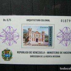 Sellos: VENEZUELA HOJA ARQUITECTURA COLONIAL MNH** LUJO!!!. Lote 254085235
