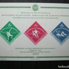 Sellos: VENEZUELA HOJA PRIMEROS JUEGOS DEPORTIVOS NACIONALES MNH** LUJO!!!. Lote 254085300