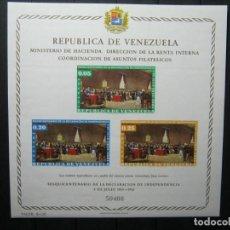Sellos: VENEZUELA HOJA SESQUICENTENARIO DECLARACIÓN INDEPENDENCIA MNH** LUJO!!!. Lote 254085590