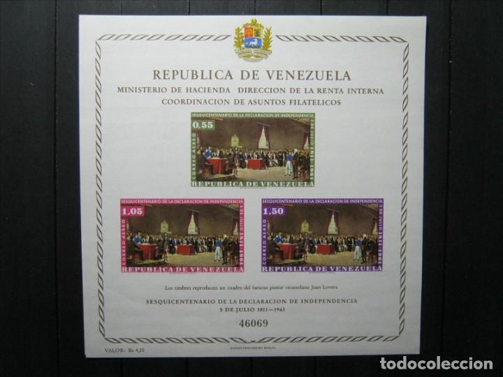 VENEZUELA HOJA SESQUICENTENARIO DECLARACIÓN INDEPENDENCIA MNH** LUJO!!! (Sellos - Extranjero - América - Venezuela)