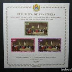 Sellos: VENEZUELA HOJA SESQUICENTENARIO DECLARACIÓN INDEPENDENCIA MNH** LUJO!!!. Lote 254085635