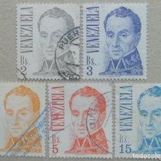 Sellos: 1976. VENEZUELA. 978 / 981 + 983 (SELLOS FORMATO GRANDE). GENERAL SIMÓN BOLÍVAR. USADO.. Lote 260031925