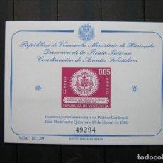 Sellos: VENEZUELA HOJA CARDENAL HUMBERTO QUINTERO MNH** LUJO!!!. Lote 261268700