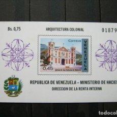 Sellos: VENEZUELA HOJA ARQUITECTURA COLONIAL MNH** LUJO!!!. Lote 261268820