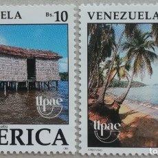 Sellos: 1990. VENEZUELA. CASAS TÍPICAS SOBRE LAGO MARACAIBO, COSTA ORIENTAL. SERIE COMPLETA. NUEVO.. Lote 277127943