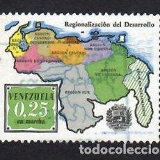 Selos: VENEZUELA (1973). DESARROLLO REGIONAL, MAPA. YVERT Nº 904. USADO.. Lote 288170328