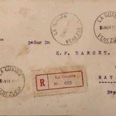 Sellos: O) 1931 VENEZUELA, LA GUAIRA, DISTRITO FEDERAL, UNITED STATES OF VENEZUELA , REGISTERED TO CARIBBEAN. Lote 289029118