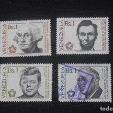 Sellos: SERIE DE 4 SELLOS VENEZUELA 1976 BICENTENARIO DE LA INDEPENDENCIA DE ESTADOS UNIDOS. Lote 296715503