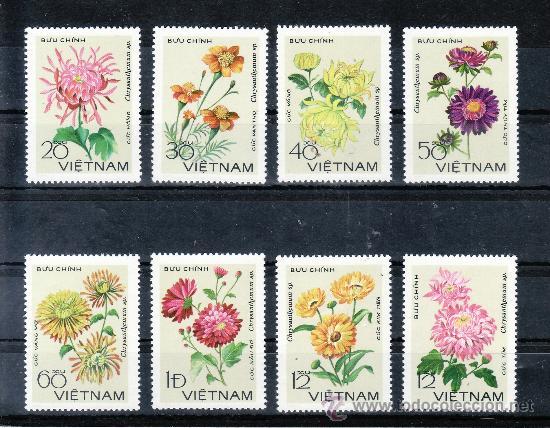 VIETNAM 138/45 SIN CHARNELA, FLORES, CRISANTEMOS, (Sellos - Extranjero - Asia - Vietnam)