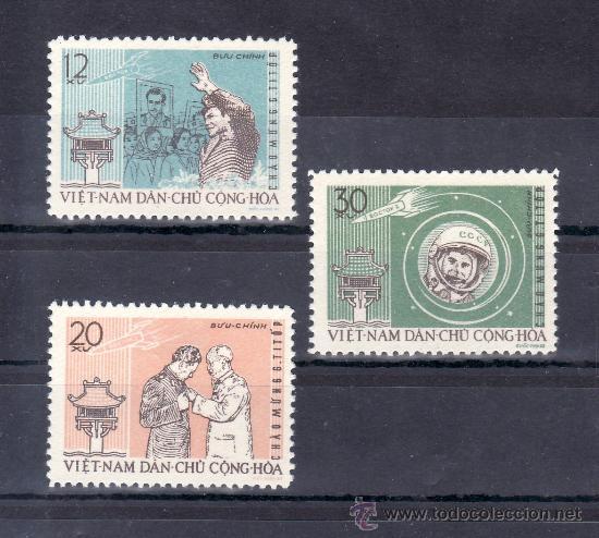 VIETNAM DEL NORTE 278/80 CON CHARNELA, ESPACIO, VISITA DEL COSMONAUTA GUERMAN TITOV (Sellos - Extranjero - Asia - Vietnam)