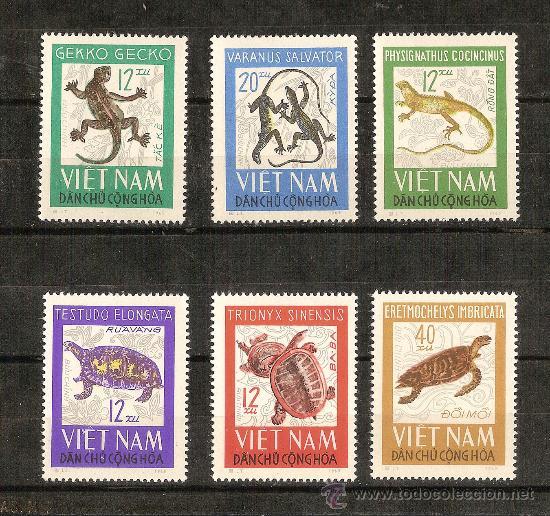 VIETNAM, TEMA REPTILES MICHEL 432/37 1966 - SERIE COMPLETA (Sellos - Extranjero - Asia - Vietnam)