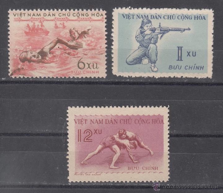 VIETNAM DEL NORTE 172/4 SIN CHARNELA, DEPORTE, TIRO, NATACION, LUCHA, (Sellos - Extranjero - Asia - Vietnam)