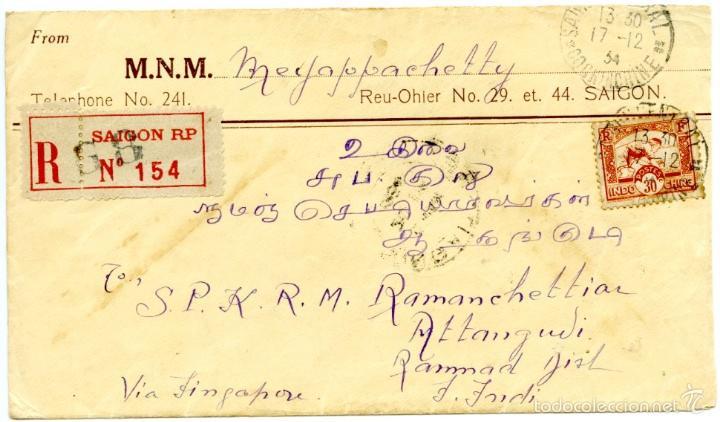 HISTORIA POSTAL DE INDOCHINA: SAIGON (VIETNAM) A INDIA VIA SINGAPUR, REGISTRADA, 1934 (Sellos - Extranjero - Asia - Vietnam)