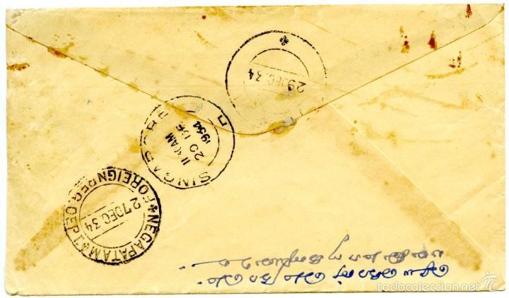Sellos: Historia postal de Indochina: Saigon (Vietnam) a India via Singapur, registrada, 1934 - Foto 2 - 55708701