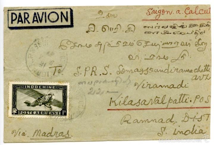 CORREO AÉREO DE SAIGÓN (VIETNAM) A CALCUTTA (INDIA), 1947 (Sellos - Extranjero - Asia - Vietnam)
