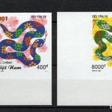 Sellos: VIETNAM 1947/48** - SIN DENTAR - AÑO 2001 - AÑO LUNAR CHINO DE LA SERPIENTE. Lote 88299008