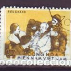 Sellos: VIETNAM. 12 HÔ CHI MINH RODEADO DE COMBATIENTES. 1975. USADO . Lote 96973551