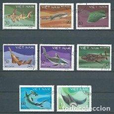Sellos: FAUNA MARINA,TIBURONES,1980,USADOS,YVERT 237-244. Lote 154496509
