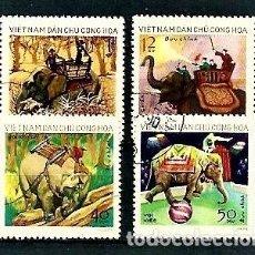 Selos: VIETNAM DEL NORTE,1973,UTILIZACIÓN DE LOS ELEFANTES,USADOS,YVERT 808-811. Lote 128843192