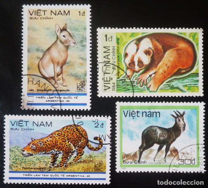 LOTE DE CUATRO SELLOS DE VIETNAM. TEMA FAUNA (Sellos - Extranjero - Asia - Vietnam)
