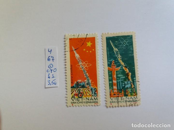 2 SELLOS - VIETNAM 1967, COSMOS, ROCKET, TRACTOR, USADO (*) (Sellos - Extranjero - Asia - Vietnam)