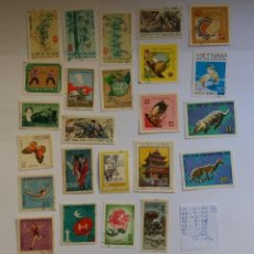 Sellos: 24 SELLOS - VIETNAM 1964 - 1972, DEPORTES, ANIMALES, NATURALEZA, POLÍTICA, MILITARES, AVES USADO (*). Lote 133487906