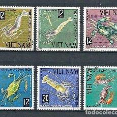 Sellos: VIETNAM DEL NORTE,CRUSTÁCEOS DIVERSOS,1965,YVERT 442-447,USADOS. Lote 142884490