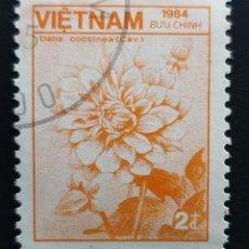 Sellos: VIETNAM - FAUNA Y FLORA - DALIA ROJA - 1984 - 2 D. Lote 146483114