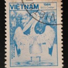 Sellos: VIETNAM - FAUNA Y FLORA - PELÍCANO - 1984 - 1 D. Lote 146483226