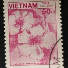 Sellos: VIETNAM - FAUNA Y FLORA - ROSA DE CHINA - 1984 - 50 XU. Lote 146483294