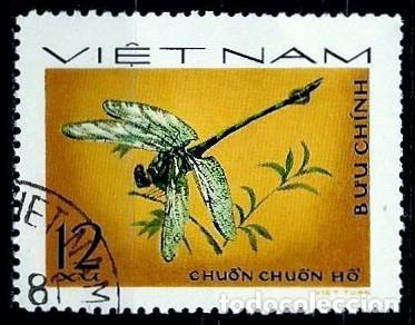 VIETNAM SCOTT: 856-(1977) (LIBELULA:COLA DE ORO (ICTINOGOMPHUS CLAVATUS) USADO (Sellos - Extranjero - Asia - Vietnam)