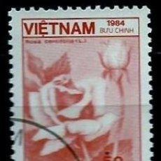 Sellos: VIETNAM SCOTT: 1468-(1984) (ROSA DE LA COL (ROSA CENTIFOLIA)) USADO. Lote 150557042