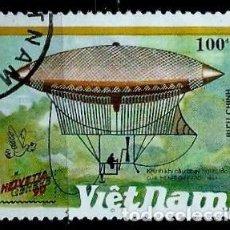 Sellos: VIETNAM SCOTT: 2171-(1990) (DIRIGIBLE A VAPOR DE HENRY GIFFARA) USADO. Lote 150561374