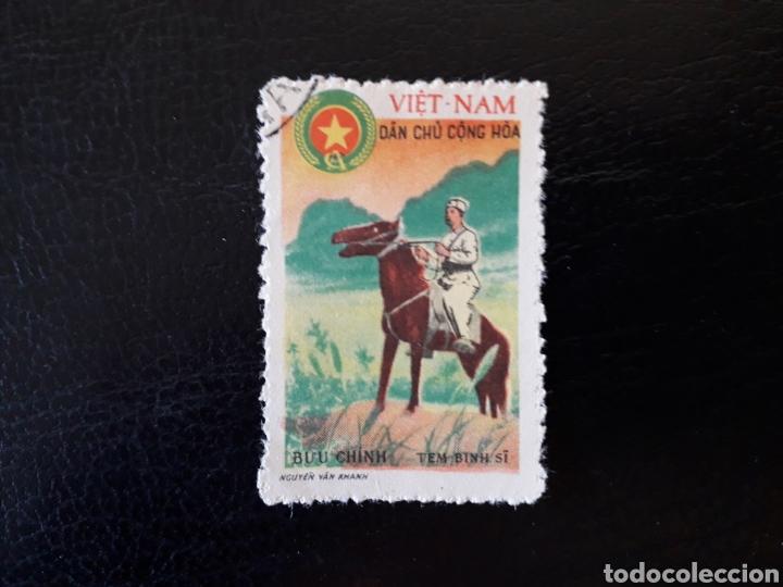 VIETNAM DEL NORTE. YVERT FRANQUICIA MILITAR 5. SERIE COMPLETA USADA. SOLDADO MONTADO A CABALLO. (Sellos - Extranjero - Asia - Vietnam)
