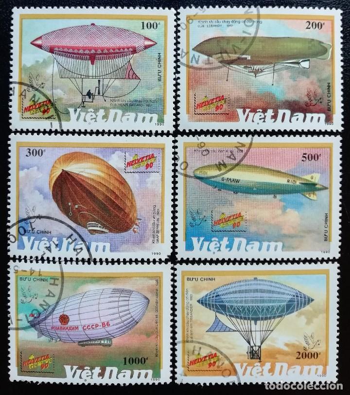 1990. AVIONES. VIETNAM. 1127 / 1133. DIRIGIBLES. EXPO. LONDRES Y HELVETIA-SUIZA. SERIE CORTA. USADO. (Sellos - Extranjero - Asia - Vietnam)