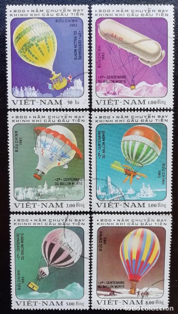 1983. AVIONES. VIETNAM. 394/400. BICENTENARIO ASCENSIONES HOMBRE A LA ATMÓSFERA. SERIE CORTA. USADO. (Sellos - Extranjero - Asia - Vietnam)