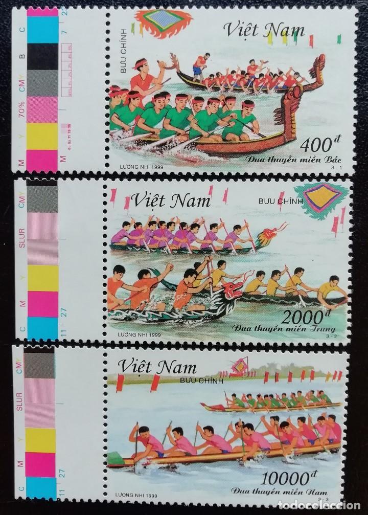 1999. DEPORTES. VIETNAM. 1851 / 1853. REGATAS CANOAS TRADICIONALES. PRECIOSA SERIE COMPLETA. NUEVO. (Sellos - Extranjero - Asia - Vietnam)