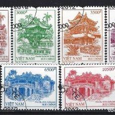 Sellos: VIETNAM 2012 - PAGODAS DE VIETNAM, S.COMPLETA - SELLOS USADOS. Lote 174248362