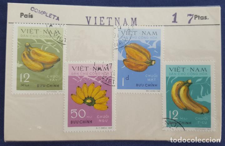 COLECCIÓN COMPLETA DE 4 SELLOS DE VIETNAM. PLÁTANOS. BANANAS. 1969. CON MATASELLOS (Sellos - Extranjero - Asia - Vietnam)