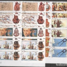 Sellos: VIETNAM 1990 COLUMBUS, DISCOVERY OF AMERICA, 4 IMPERF. SET IN BLOCK, USED T.377. Lote 198280025