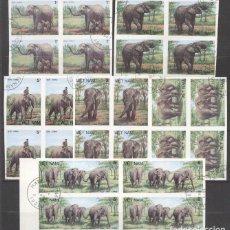 Sellos: VIETNAM 1987 ELEPHANTS, 4 IMPERF. SET IN BLOCK, USED T.379. Lote 198280303